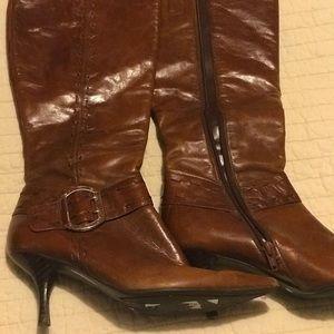 Nine West Brown Heeled Boots 1 1/2 inch heel 7M